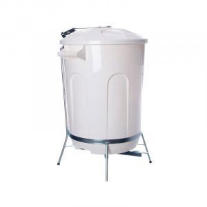 Lixeira Branca com Suporte de Pedal em Aço 30 litros