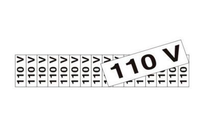 Placa de Aviso 110 Volts Poliestireno 5 x 25 cm