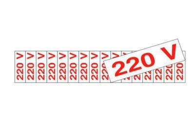 Placa de Aviso 220 Volts Poliestireno 5 x 25 cm