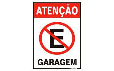 Placa de Aviso Atenção Garagem Poliestireno 20 x 30 cm