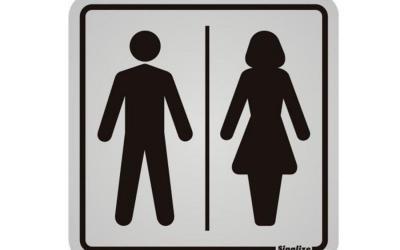 Placa de Aviso Banheiro Masculino Feminino Alumínio 12 x 12 cm
