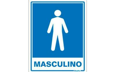Placa de Aviso Banheiro Masculino Poliestireno 15 x 20 cm