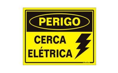 Placa de Aviso Perigo, Cerca Elétrica Poliestireno 15 x 20 cm