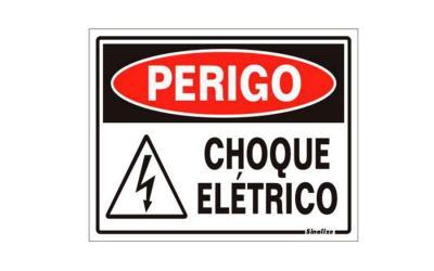 Placa de Aviso Perigo, Choque Elétrico Poliestireno 15 x 20 cm